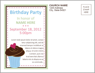 Church Art Birthday Postcard Example of Back of card