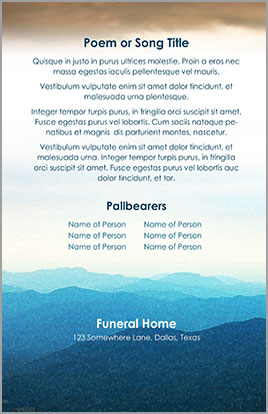 Church Art Bulletin Funeral Template Example Back Cover