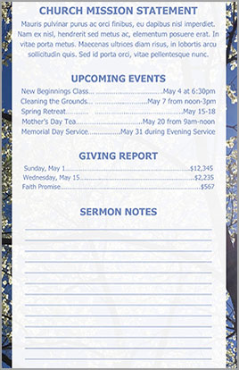 Church Art Bulletin Template Welcome Spring Example Page 2 with welcome caption and spring background