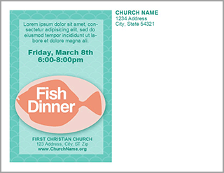 Church Art Fish Dinner Postcard Example of Back of card