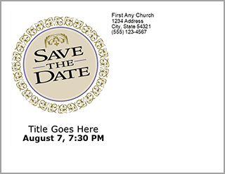 Church Art Save the Date Postcard Example of back of card
