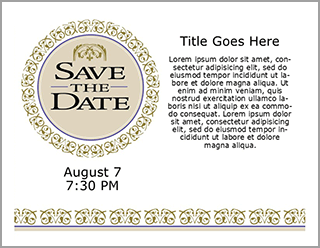Church Art Save the Date Postcard Example of front of card