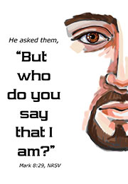 Church Art Bulletin Cover illustration of Jesus face and Scripture But Who Do You Say That I Am? Mark 8:29