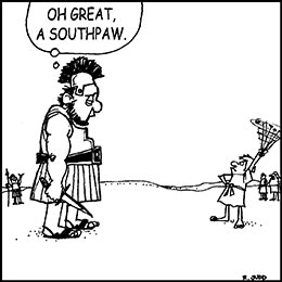 Church art cartoon of David swinging his sling at Goliath with caption OH GREAT A SOUTHPAW
