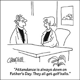 Church art cartoon of two pastors talking at desk with caption ATTENDANCE IS ALWAYS DOWN ON FATHER'S DAY THEY ALL GOT GOLF BALLS