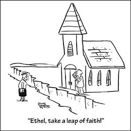 Church art cartoon of crevasse in front of church woman and man on opposite sides with caption ETHEL TAKE A LEAP OF FAITH