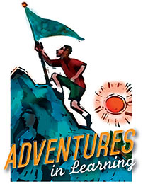 Church Art Clip-Art man carrying flag climbs mountain with sun and caption Adventures in Learning