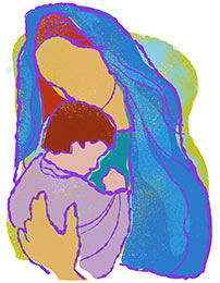 Church Art Clip-Art Mary holding baby Jesus without caption