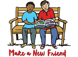 Church Art Clip-Art two boys sitting on bench looking at book and caption Make a New Friend