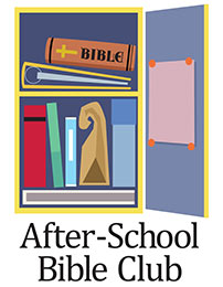Church Art Clip-Art open locker with bible books lunch bag and caption After-School Bible Club