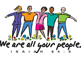 Church Art Clip-Art two women and three men with arms around each other and caption We Are All Your People Isaiah 64:9