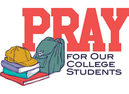 Church Art Clip-Art books ballcap backpack and caption PRAY for Our College Students