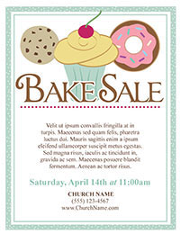 Church Art Flyer Template Bake Sale with illustration of cookie cupcake and donut