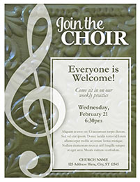 Church Art Flyer Template Join the Choir with G-clef