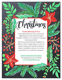 Church Art Flyer Template Christmas with poinsettia flowers holly and greenery