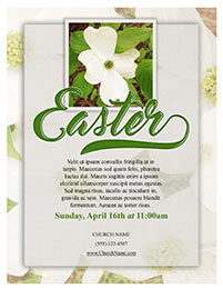 Church Art Flyer Template Easter with flower