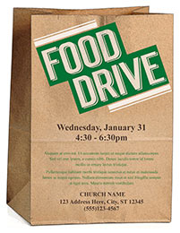 Church Art Flyer Template Food Drive with paper grocery bag