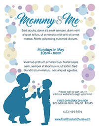 Church Art Flyer Template Mommy and Me with mother child and bubbles