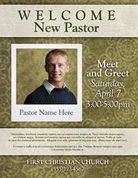 Church Art Flyer Template Welcome New Pastor with photo space for pastor
