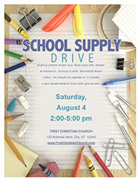 Church Art Flyer Template School Supply Drive with photo of pencils brushes crayons paper clips