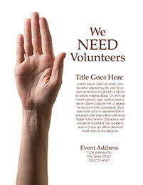 Church Art Flyer Template We Need Volunteers with woman's arm raised