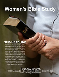 Church Art Flyer Template Women's Bible Study with woman holding a Bible