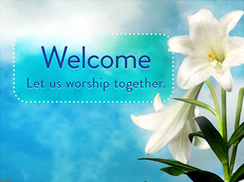 Church Art Motion Video Easter lilies and blue sky with caption Welcome Let Us Worship Together