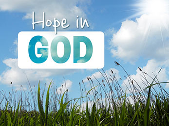 Church Art Motion Video blue sky and clouds over tall grass with caption Hope In God