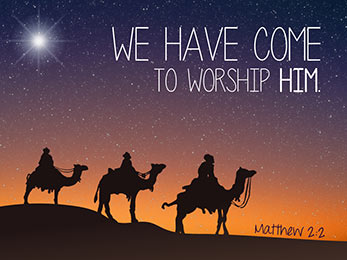 Church Art Motion Video three wise men on camels with caption We Have Come to Worship Him