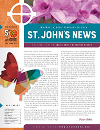 Church Art Newsletter Template St. John News with cross and flowers in nameplate and large butterfly graphic