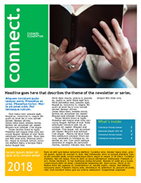 Church Art Newsletter Template Connect with green nameplate and large photo of woman reading Bible