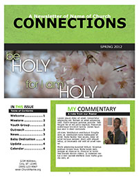 Church Art Newsletter Template Connections with green nameplate and photo of flowers