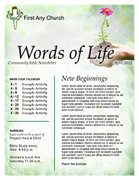 Church Art Newsletter Template Words of Life with hand holding flower in nameplate