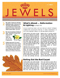 Church Art Newsletter Template Jewels with crown in orange nameplate and large leaf graphic
