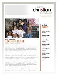 Church Art Newsletter Template First Christian Church with missionary photo of children