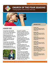 Church Art Newsletter Template Church of the Four Seasons with photo of woman looking through binoculars