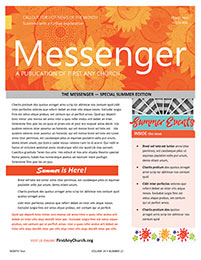 Church Art Newsletter Template Messenger with orange graphic flowers in nameplate