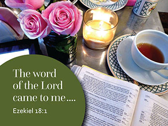 Church art photo of Bible coffee roses candle with The Word of the Lord came to me caption