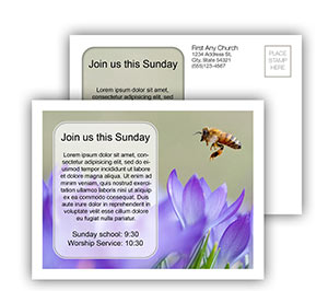 Church Art Postcard Template photo of bee flying over flowers and caption Join Us This Sunday