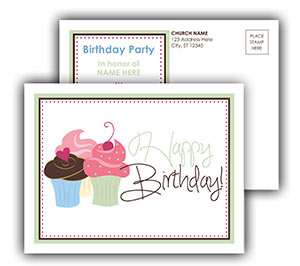 Church Art Postcard Template cupcakes with caption Happy Birthday