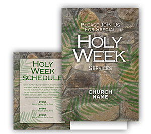 Church Art Postcard Template stones with palm leaves and caption Holy Week