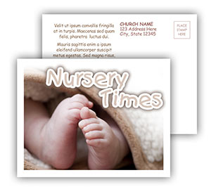 Church Art Postcard Template photo of a baby's feet sticking out from under a blanket with caption Nursery Times