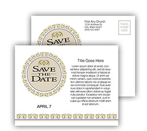 Church Art Postcard Template ornamental design with caption Save the Date
