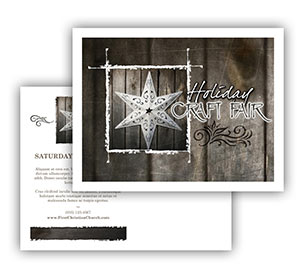 Church Art Postcard Template star on wooden wall with caption Holiday Craft Fair