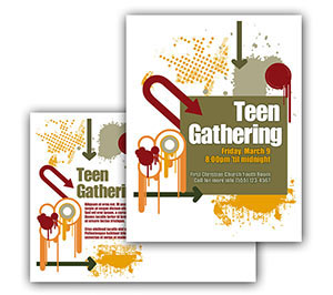 Church Art Postcard Template abstract design with paint splashes and arrows with caption Teen Gathering