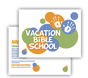 Church Art Postcard Template hand prints and color circles with caption Vacation Bible School