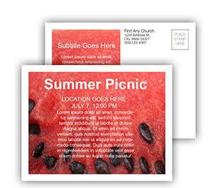 Church Art Postcard Template photo of watermelon with seeds and caption Summer Picnic