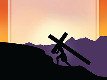 Church Art PowerPoint image of silhouette of Jesus carrying cross up rocky hill without caption