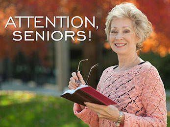 Church Art PowerPoint image of woman holding Bible and eyeglasses and caption Attention Seniors
