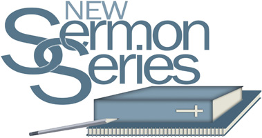 Bible Clip-Art of Bible and notebook with New Sermon series caption